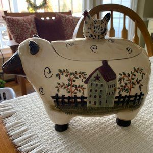 Delton Products Sheep & Hen Ceramic Cookie Jar